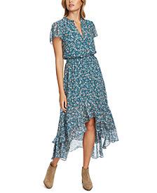 1.STATE Printed High-Low Midi Dress
