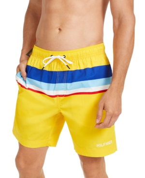 1970s Men's Clothes, Fashion, Outfits Tommy Hilfiger Mens Colorblocked Oscar Swim Trunks Created for Macys $69.50 AT vintagedancer.com