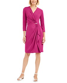Petite Faux-Wrap Dress, Created for Macy's