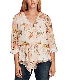 Printed Asymmetrical Cinch-Waist Blouse