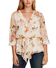 Vince Camuto Printed Asymmetrical Cinch-Waist Blouse
