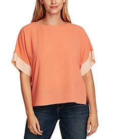 Dropped-Shoulder Colorblocked Blouse
