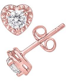 Certified Diamond Heart Stud Earrings (1/2 ct. t.w.)