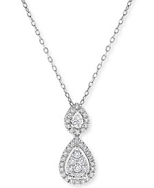 "Diamond Double Teardrop Pendant Necklace (1/3 ct. t.w.) in 14k Rose Gold, 16"" + 2"" Extender"