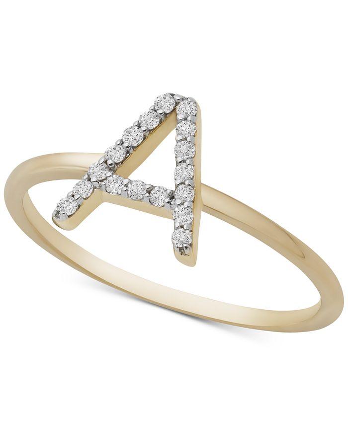Macy's - Diamond Initial Ring (1/10 ct. t.w.) in 14k Gold