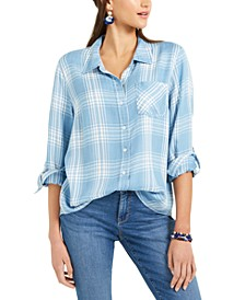 Petite Plaid Tunic Shirt, Created for Macy's