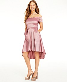 Juniors' Scalloped Off-The-Shoulder Dress