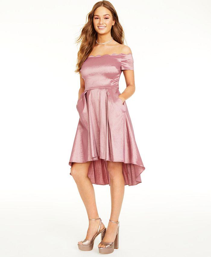 B Darlin - Juniors' Scalloped Off-The-Shoulder Dress
