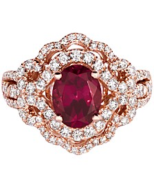 Raspberry Rhodolite (1-9/10 ct. t.w.) & Diamond (7/8 ct. t.w.) Ring in 14k Rose Gold