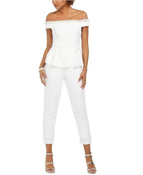 Adrianna Papell Embellished Off-The-Shoulder Jumpsuit