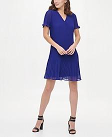 V-Neck Flutter Sleeve Pleated Shift Dress