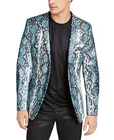 Men's Dover Blue & Gray Snake Patterned Dinner Jacket