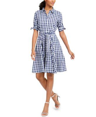 Gingham Tie-Waist Shirtdress