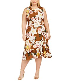 Plus Size Belted Ruffled Midi Dress
