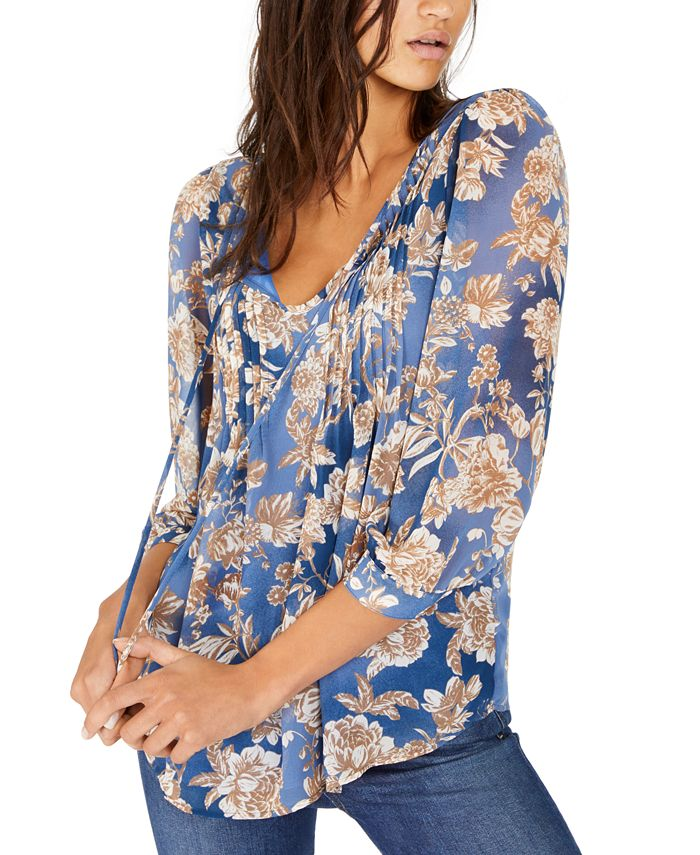 Tommy Hilfiger - Pintucked Floral-Print Blouson Top