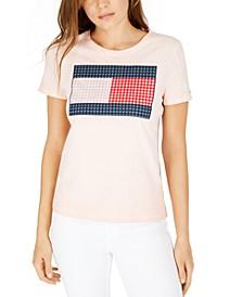 Gingham-Print Patchwork Logo T-Shirt