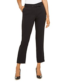 Belted Straight-Leg Ankle Dress Pants