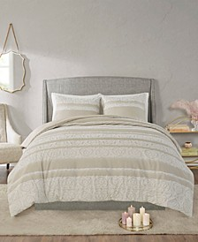Jillian 3 Piece Full/Queen Cotton Clipped Jacquard Duvet Cover Set