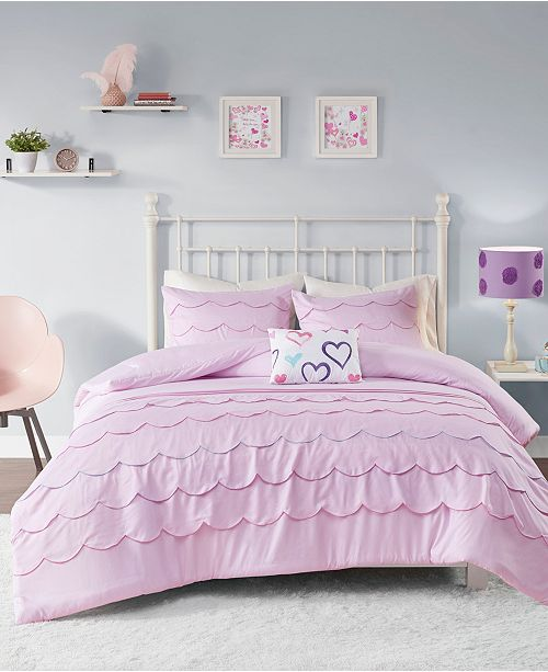 Sophia Scalloped 4-Piece Full/Queen Comforter Set