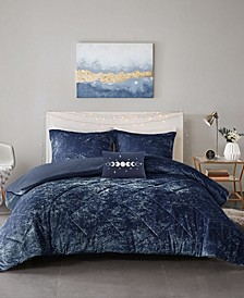 Felicia Velvet 4-Piece Full/Queen Duvet Cover Set