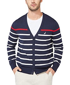 Men's Striped V-Neck Button Cardigan