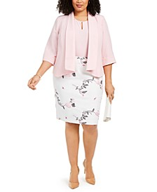 Plus Shawl Collar Jacket, Keyhole Blouse & Floral-Print Pencil Skirt
