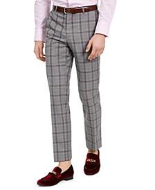 Men's Dover Slim-Fit Light Gray & Pink Plaid Dress Pants