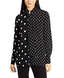 Tie-Neck Contrast Dot-Print Top