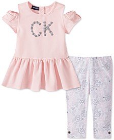 Toddler Girls 2-Pc. Cold-Shoulder Top & Floral Leggings Set