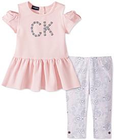 Little Girls 2-Pc. Cold-Shoulder Top & Floral Leggings Set