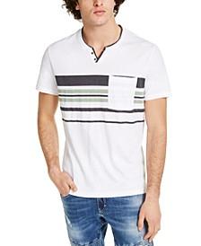 INC Men's Split-Neck Striped T-Shirt, Created for Macy's