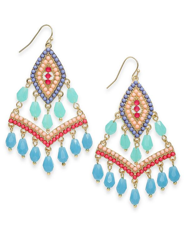 INC International Concepts INC Gold-Tone Beaded Kite Drop Earrings, Created for Macy's