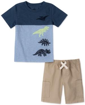 Kids Headquarters Little Boys 2-Pc. Colorblocked Dino T-Shirt & Twill Shorts Set