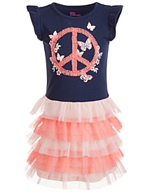 Little Girls Peace Sign Tiered Tutu Dress, Created for Macy's