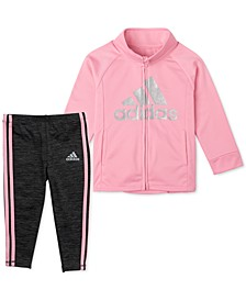 Toddler Girls 2-Pc. Tricot Jacket & Melange Tights Set