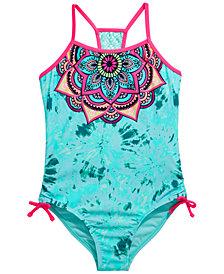 Breaking Waves Big Girls 1-Pc. Mandala Blossom Swimsuit