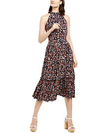 Floral-Print Halter-Neck Midi Dress