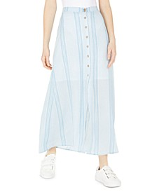 Juniors' Button-Front Striped Maxi Skirt