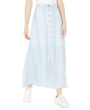 Be Bop Juniors' Button-Front Striped Maxi Skirt
