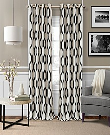 "Renzo 52"" x 95"" Geometric Ikat Linen Curtain Panel"
