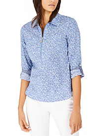 Printed Zip-Neck Cotton Top