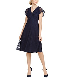 Petite Flutter-Sleeve Lace Dress