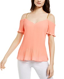 Pleated Chain-Strap Top, Regular & Petite