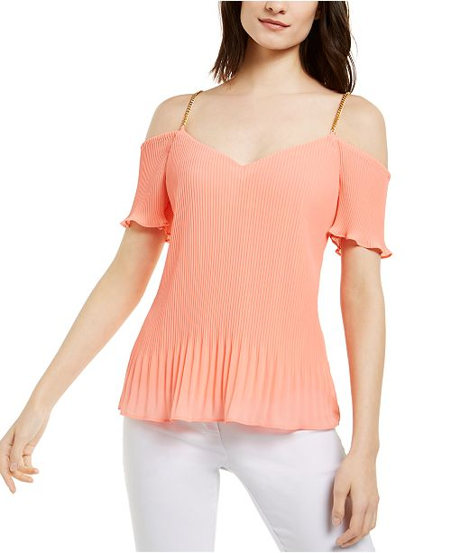 Michael Kors Pleated Chain-Strap Top