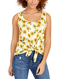 Juniors' Sunflower Tie-Front Tank Top