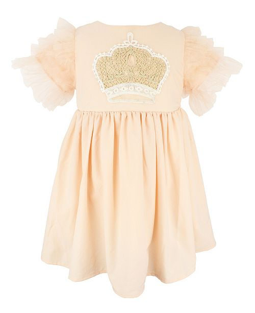 Popatu Baby Girl Crown Applique Tulle Dress