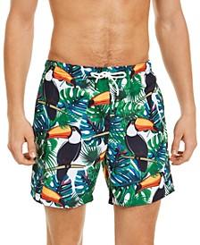 Men's Slim-Fit Toucan Print Swim Trunks