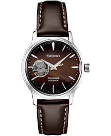 Women's Presage Automatic Brown Leather Strap Watch 33.8mm