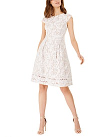 Petite Cap-Sleeve Lace Dress