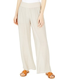 Juniors' Smocked-Waist Wide-Leg Soft Pants